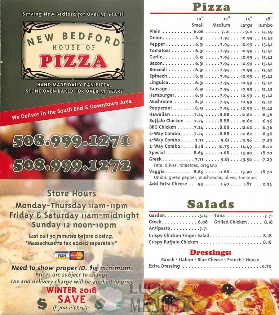 New Bedford House Of Pizza Lucky Menus