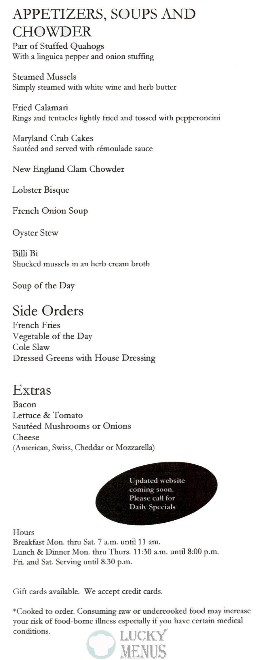 Marguerite's Take Out Menu - Appetizers, Soups, and Chowder