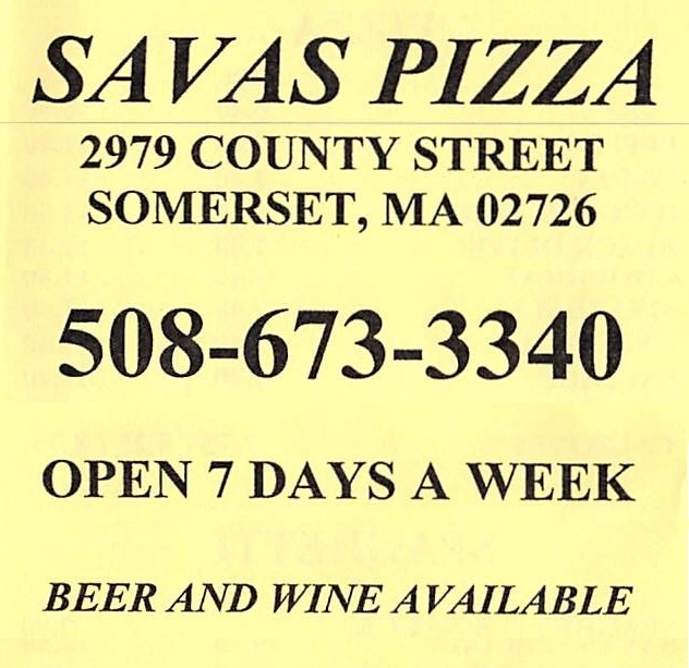 Savas Pizza Somerset - menu cover