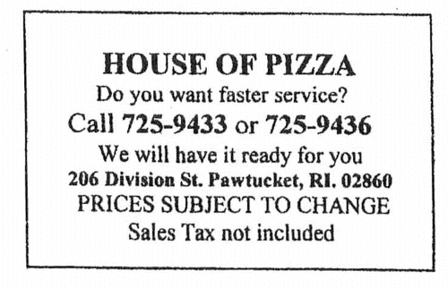 House of Pizza Pawtucket