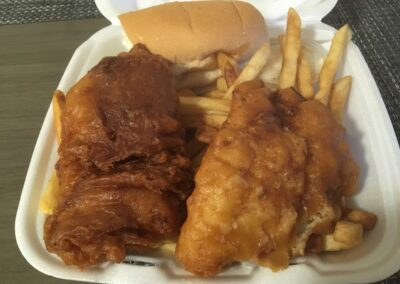 photo of fish and chips take out from tiverton famous pizza